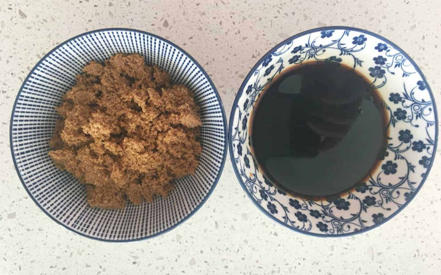 sugar and soy sauce in two bowls