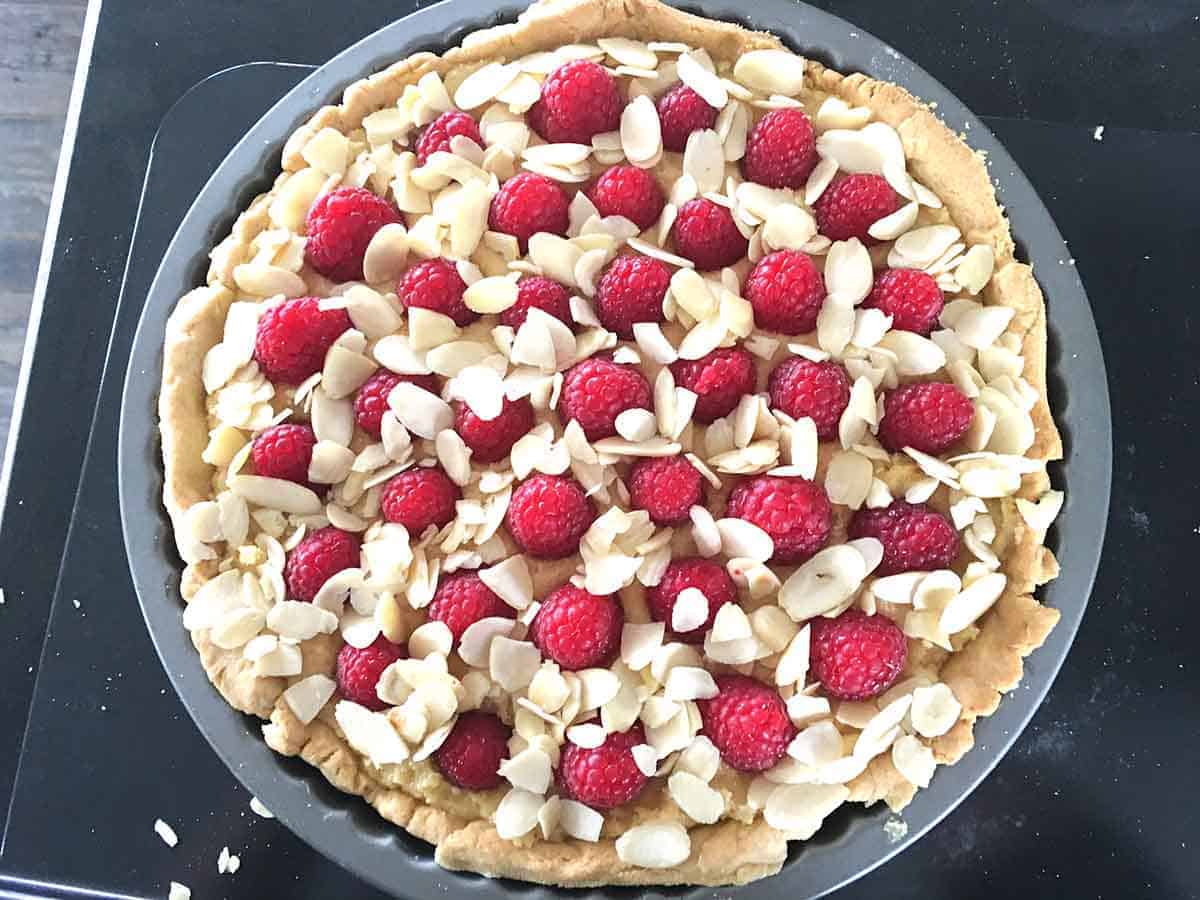 tart with almonds added before baking.