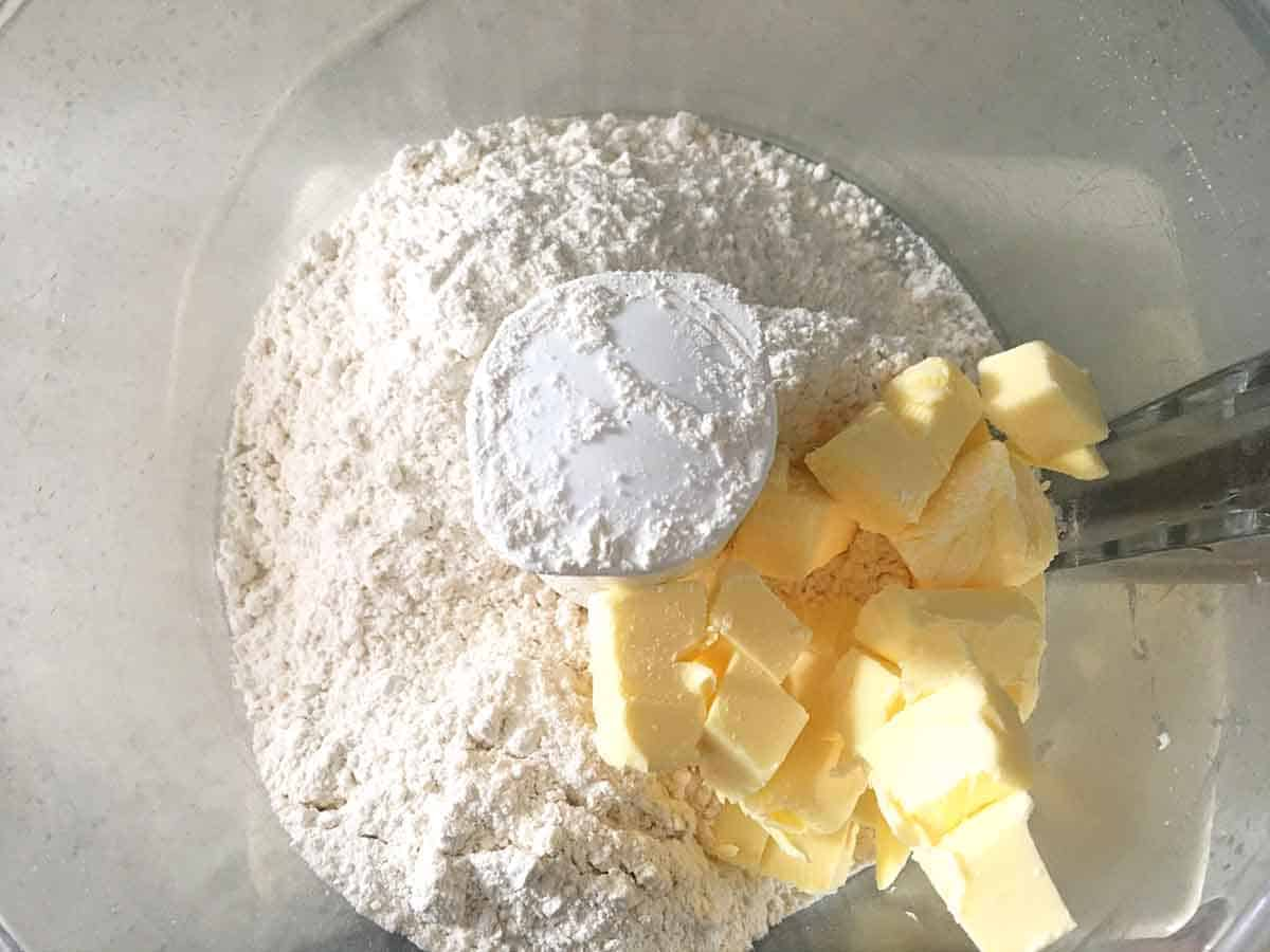flour and butter in a food processor bowl.