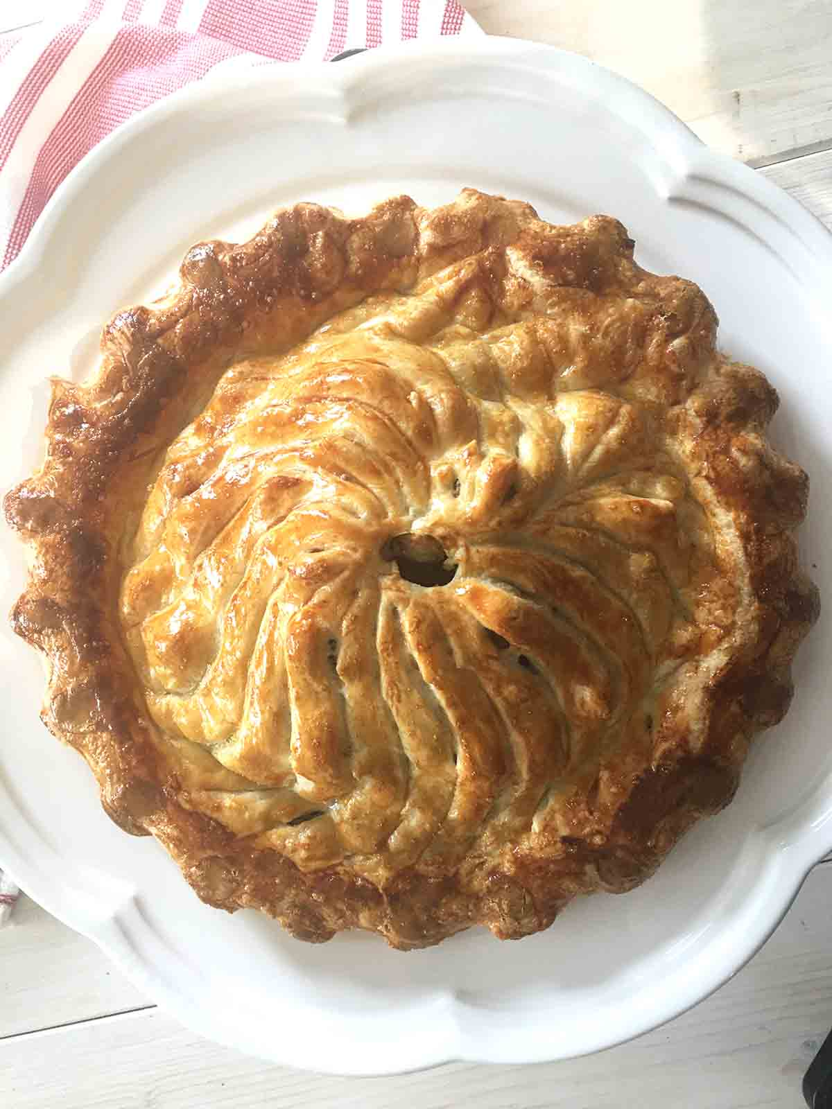 cooked pie overhead view.