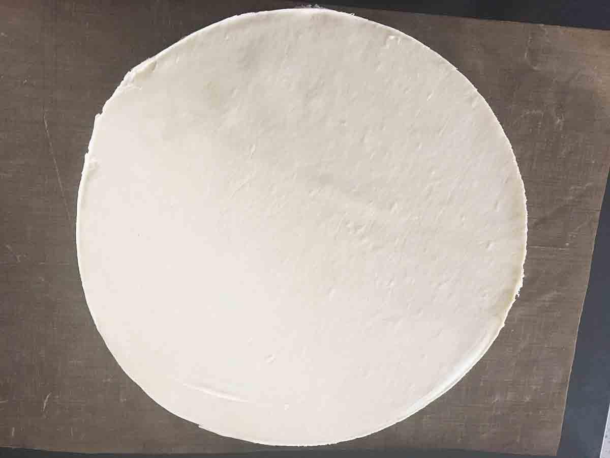 round cut piece of dough.
