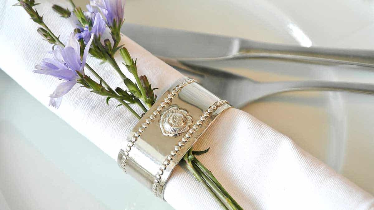 close up of tucked into a napkin ring.