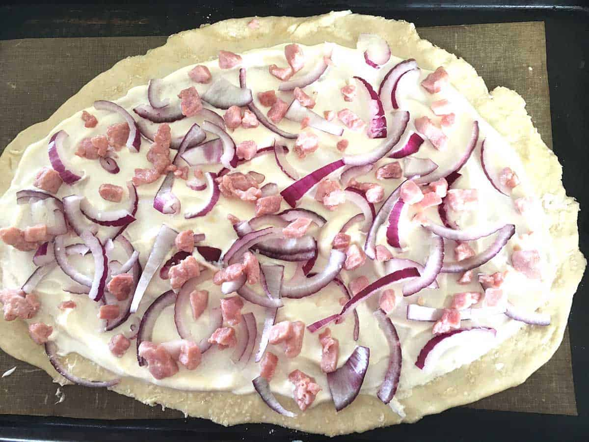 tarte with lardons added.