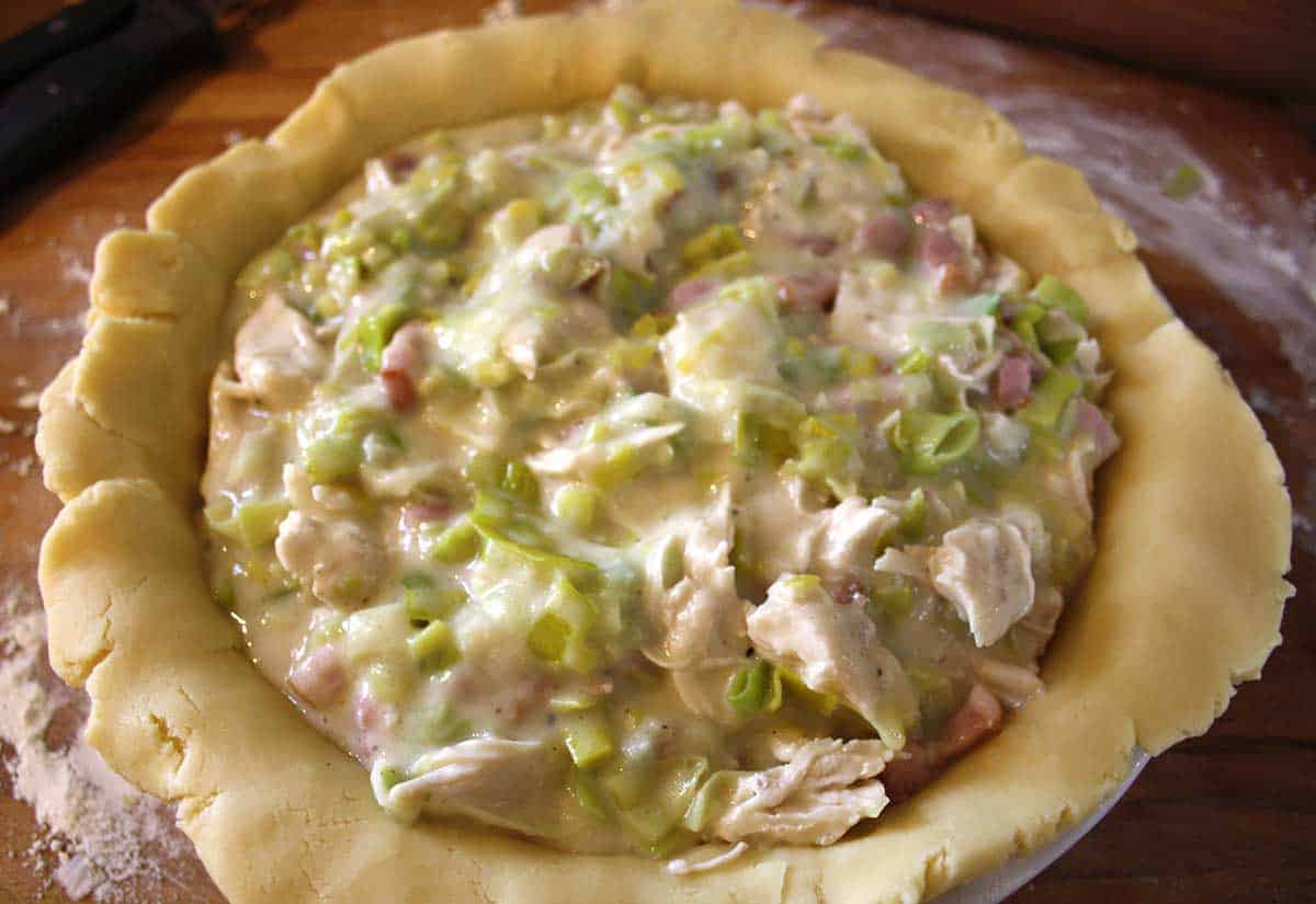 chicken pie mixture in a pastry crust.