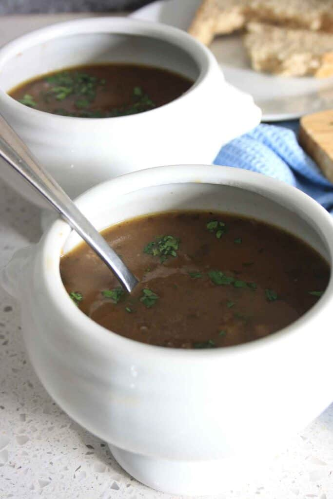 two filled bowls of soup