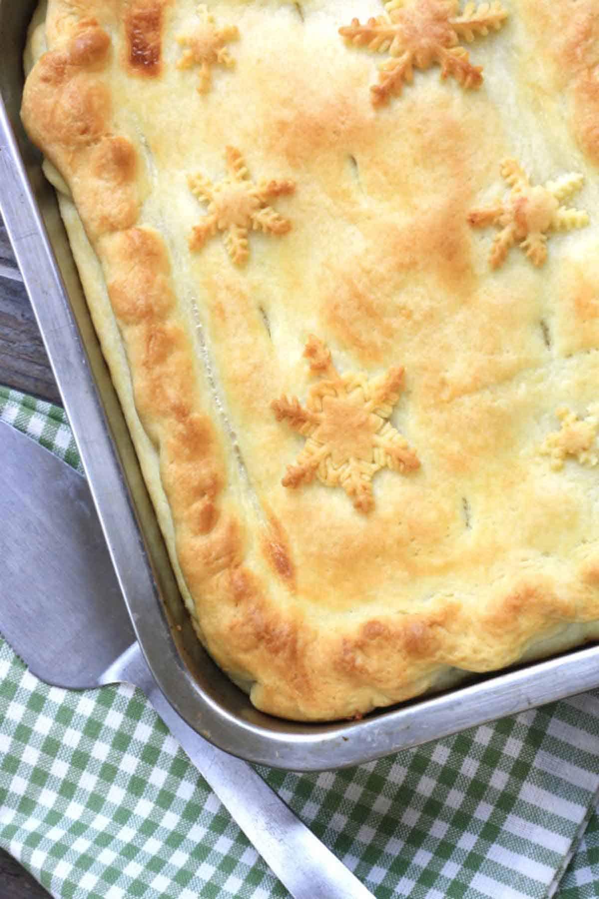 pie in a baking tin.