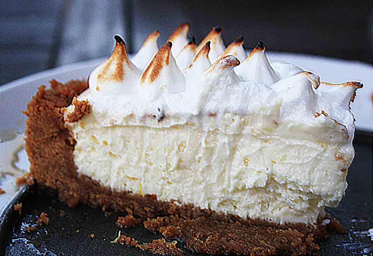 slice of lemon meringue cheesecake.