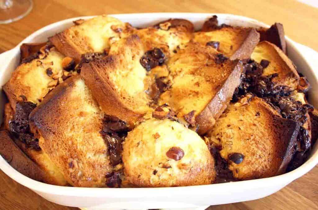 dish of brioche bread and butter pudding.