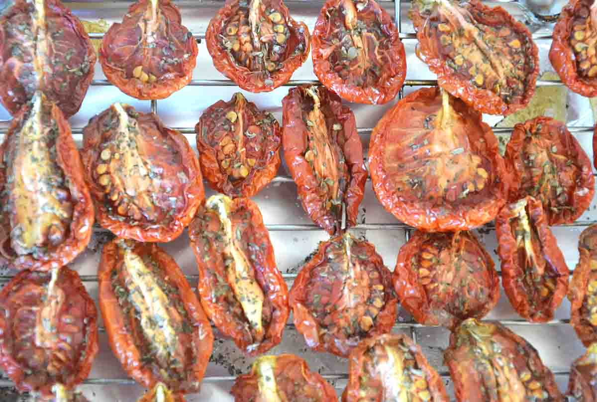 oven dried tomatoes on a rack.
