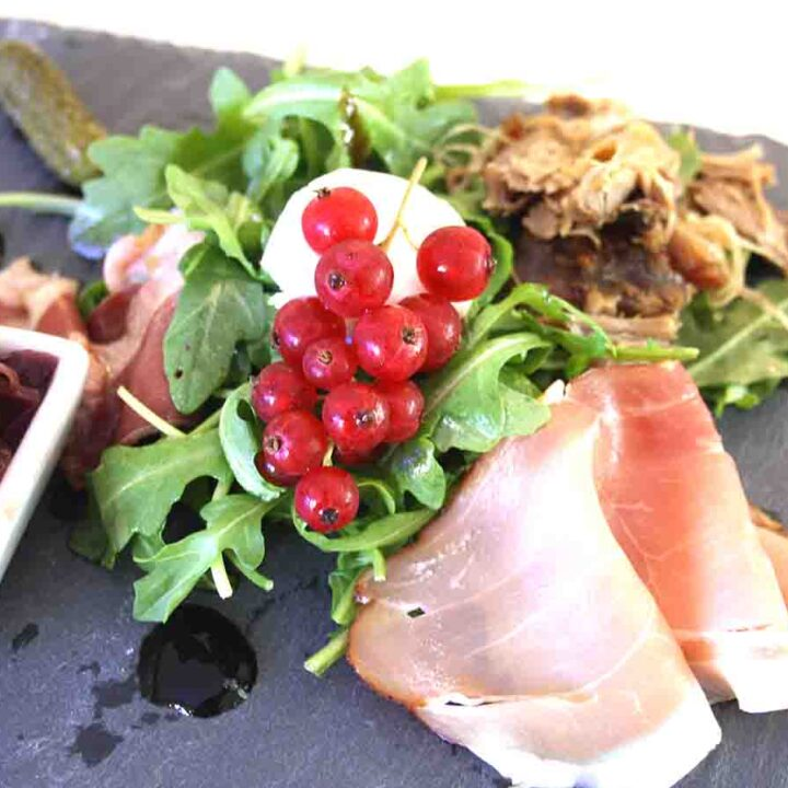 French Ploughman's lunch on a slate plate.