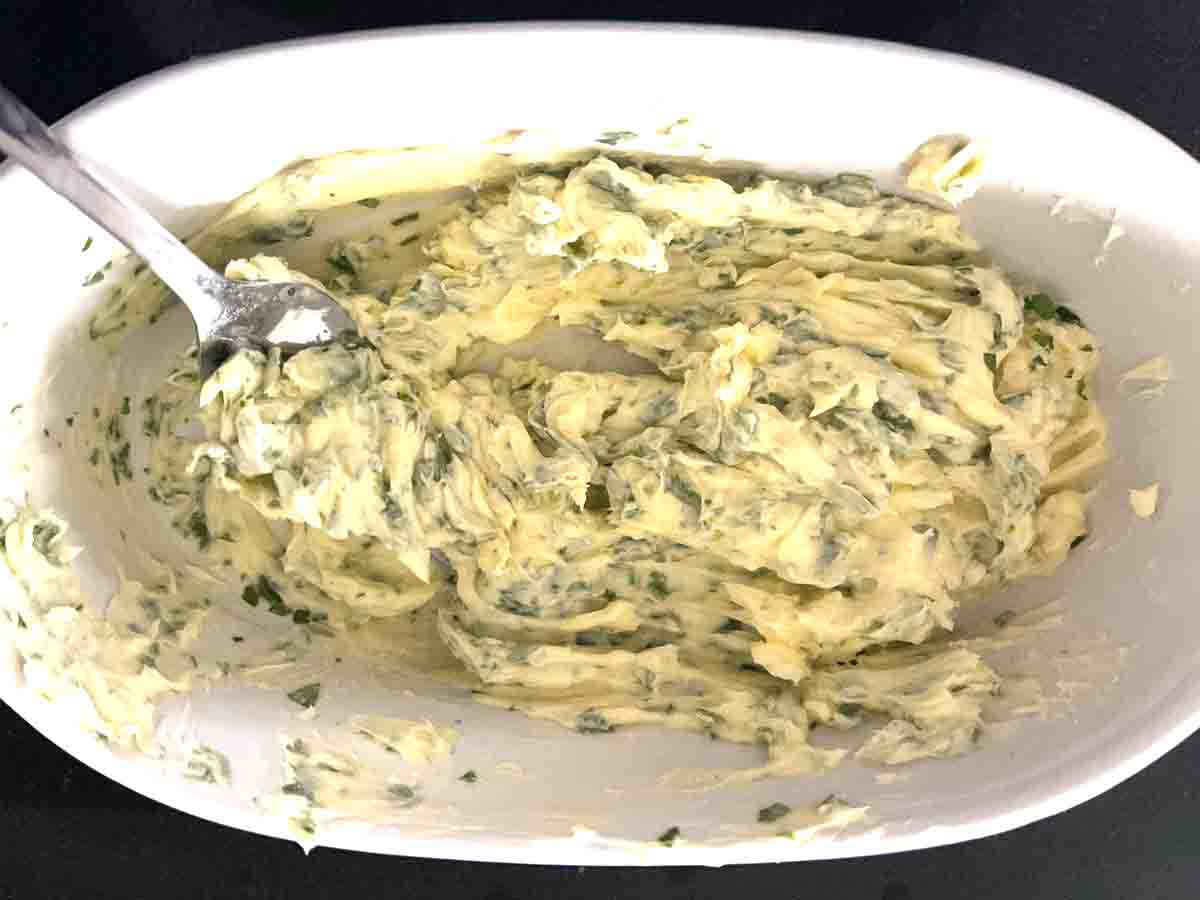 butter mashed up with the herbs.
