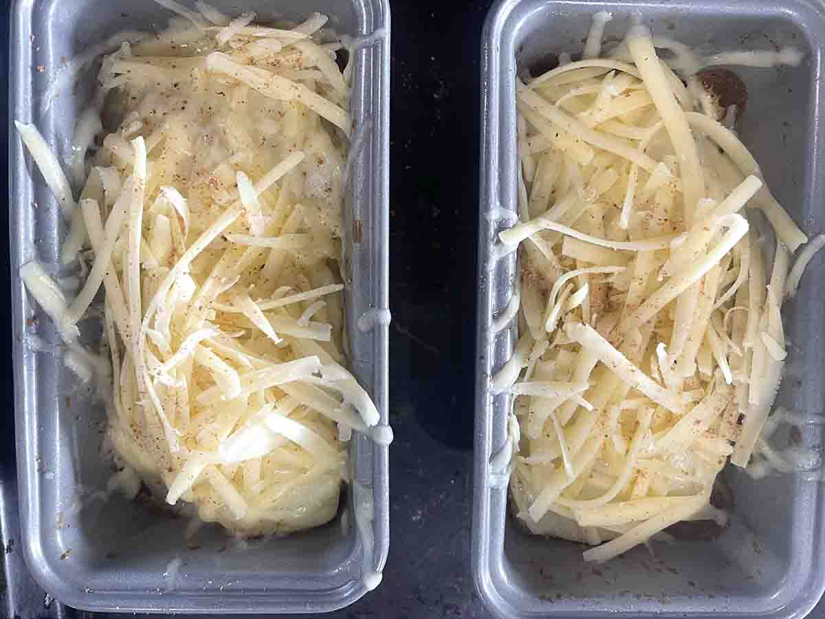 grated cheese added to the potatoes.