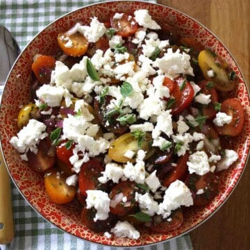 cherry tomato and feta salad in a bowl.