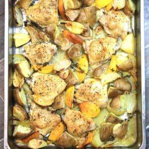 lemon garlic chicken bake in a roasting pan.