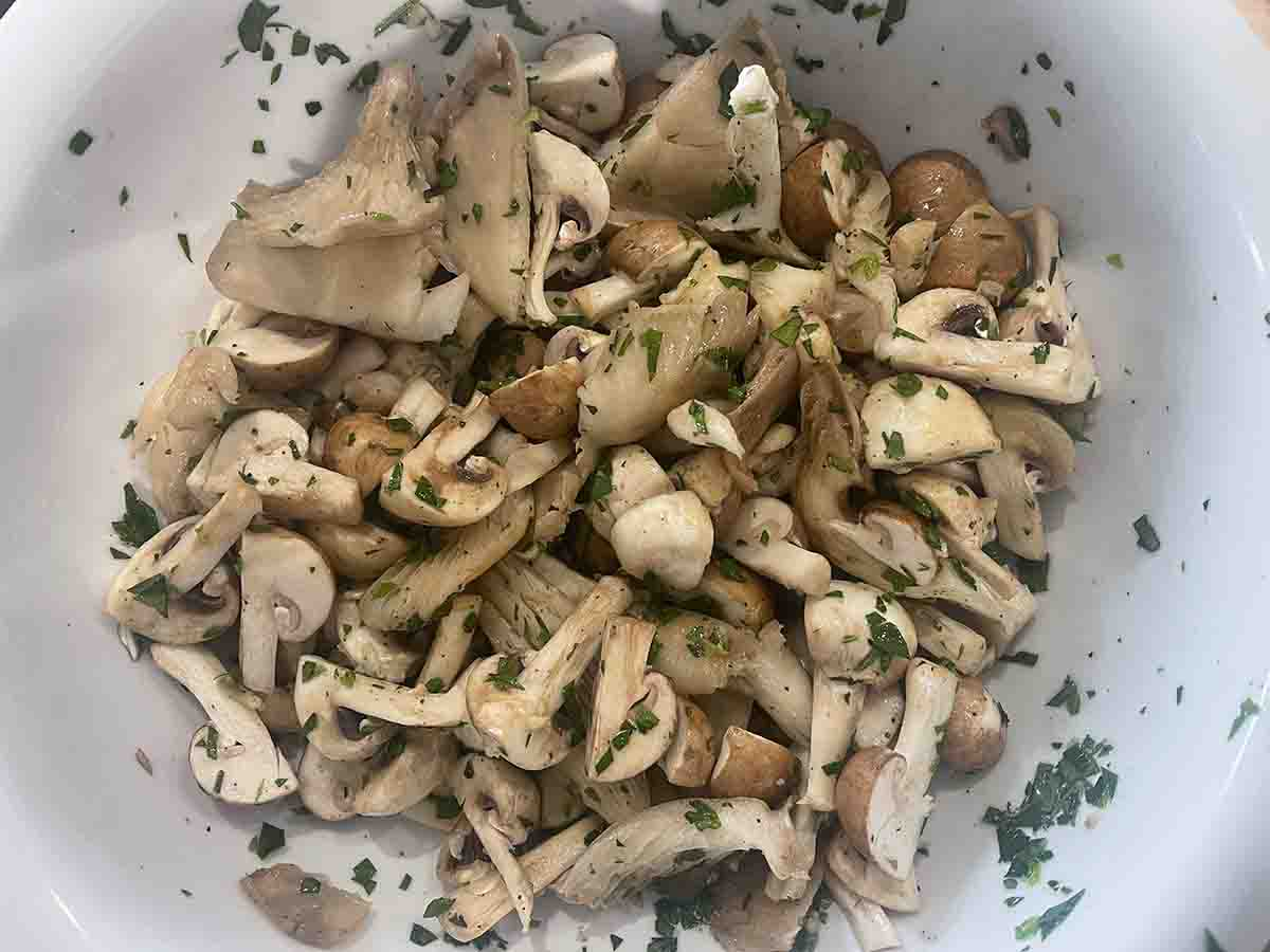 mmarinated mushrooms in a bowl.
