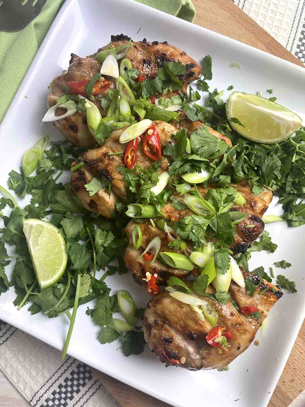 Vietnamese Grilled Chicken on a plate.