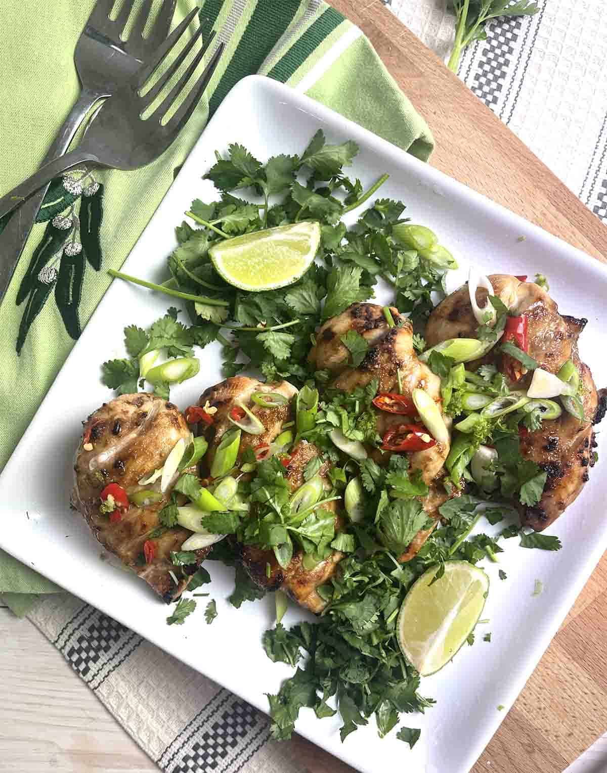 grilled chicken on a plate with garnishes.