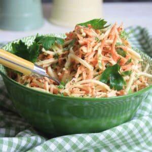 celeriac remoulade in a bowl.