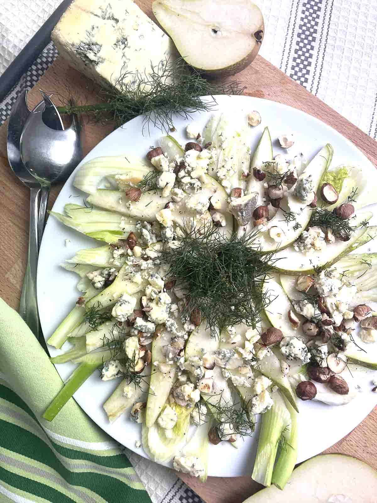 Fennel and Pear salad on a plate.