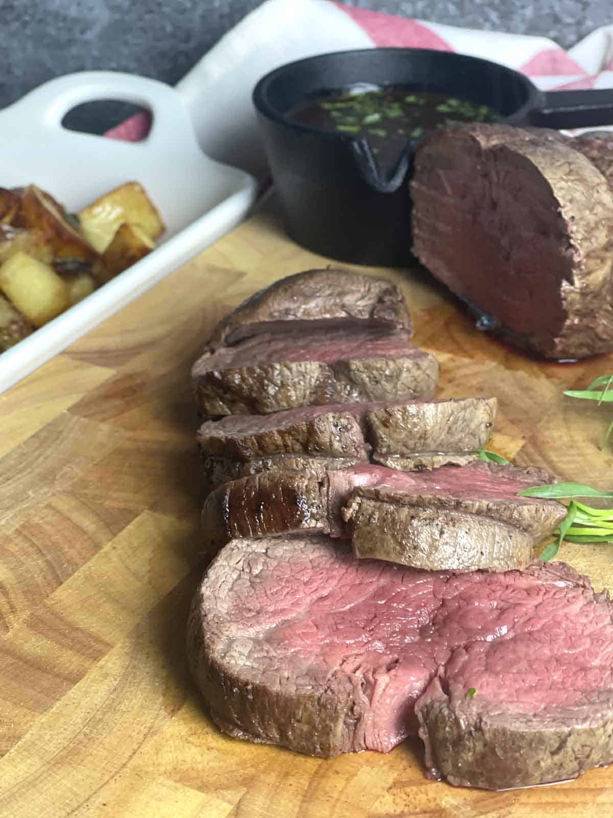 sliced beef.
