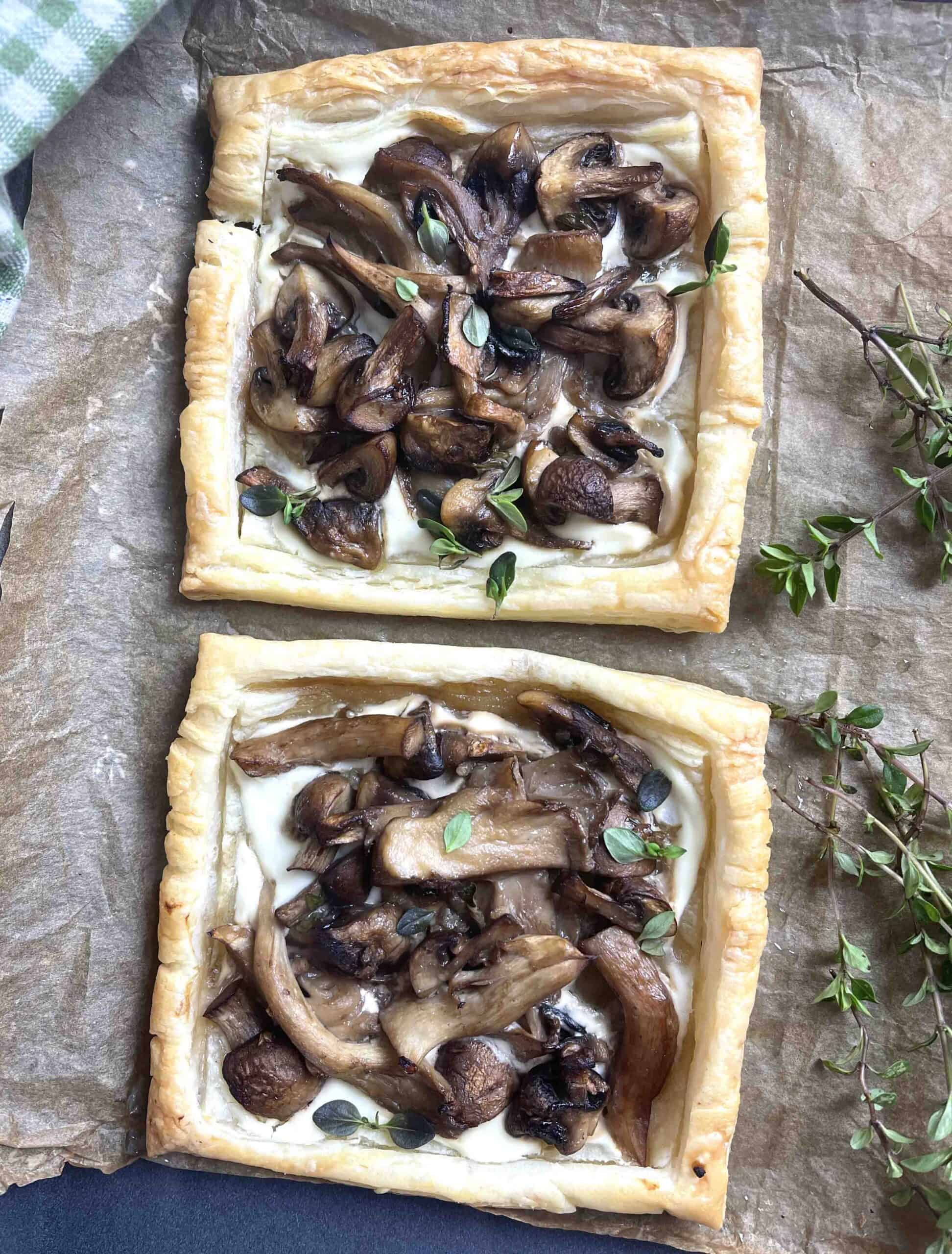 cooked tarts on a baking tray.