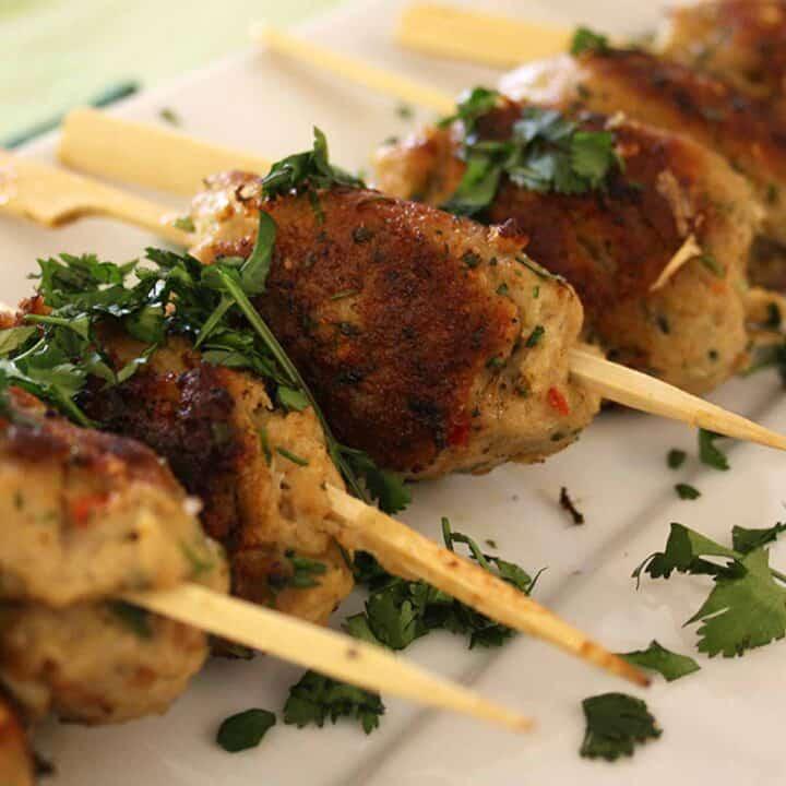 pork koftas on a plate.