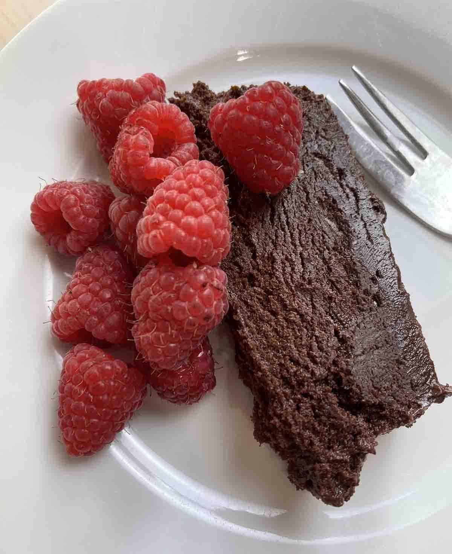 close up slice of frozen chocolate dessert.