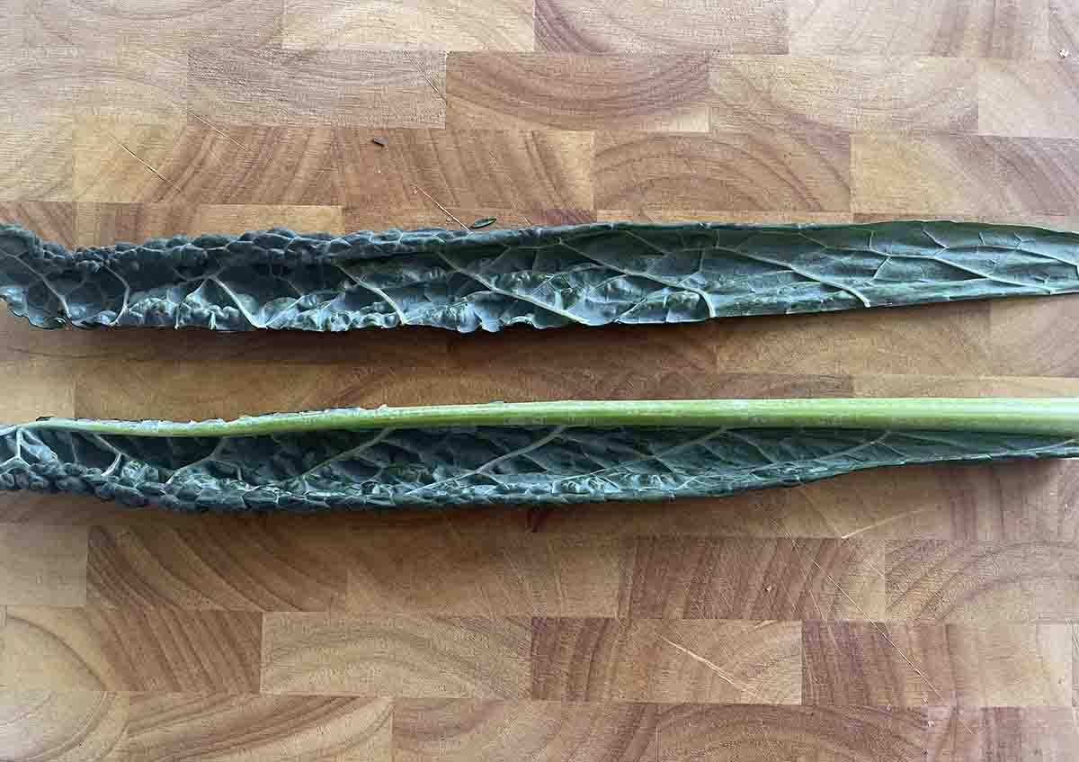 cabbage leaf sliced lengthways.