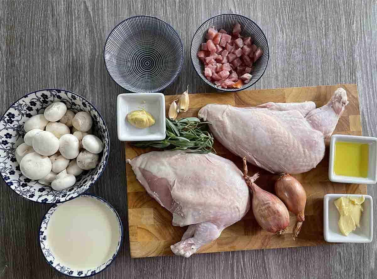 recipe ingredients including chicken breasts, mushrooms, shallots, cream, bacon, stock and wine.