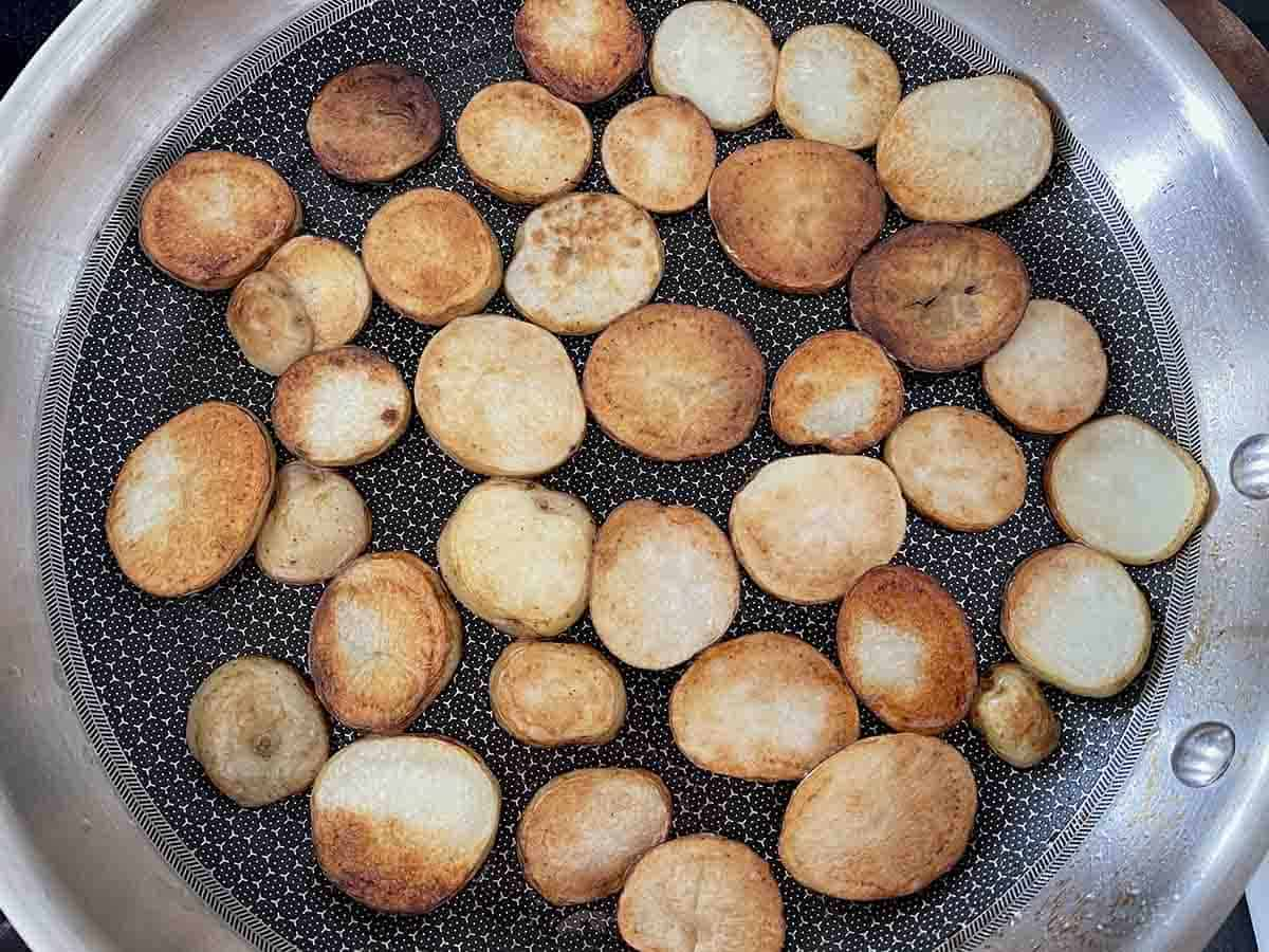 cooked potatoes turned over.